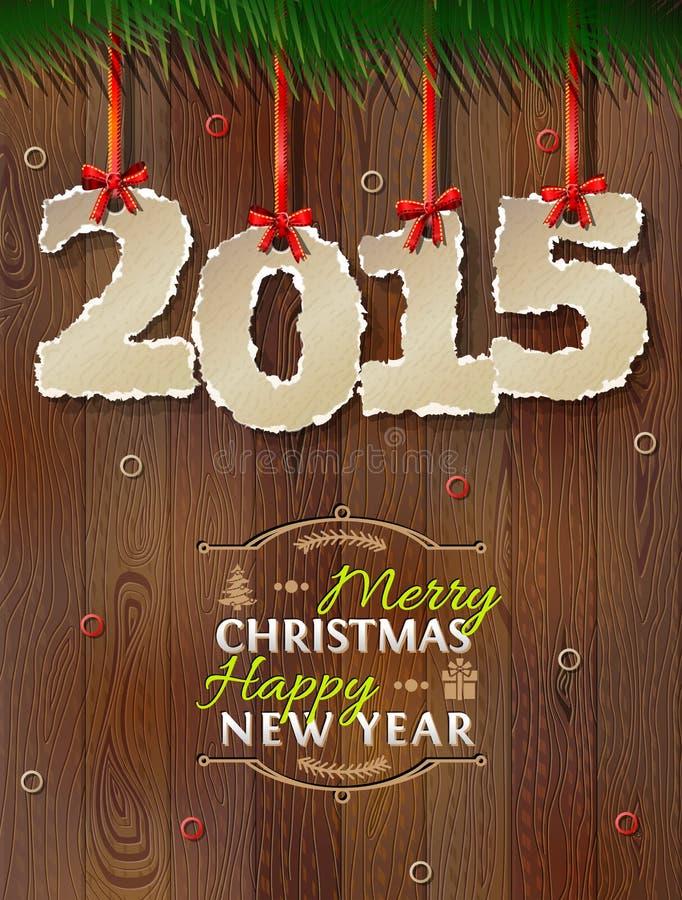 Nowy Rok 2015 poszarpany papier przeciw drewnianemu tłu ilustracja wektor