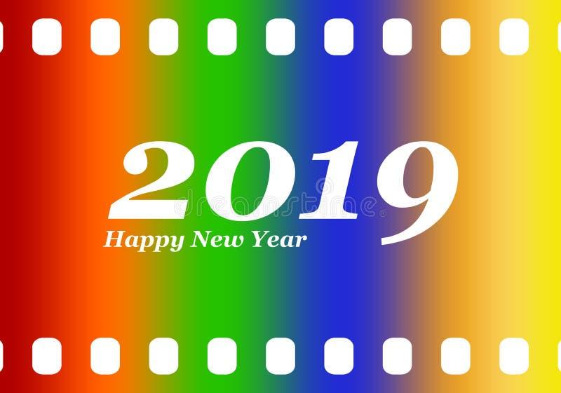 Nowy rok powitania dla 2019 z kolorowym pustego miejsca ekranowym, fotograficznym okno z i białą wpisową Szczęśliwą liczbą 2019 i ilustracja wektor
