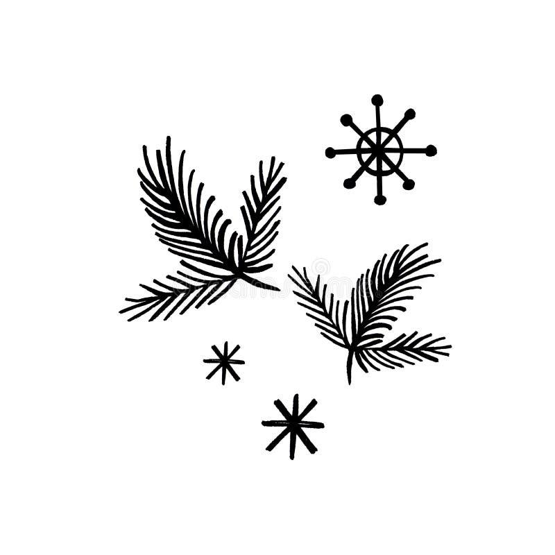 Nowy Rok ręki rysujący płatek śniegu na białym tle i gałąź royalty ilustracja