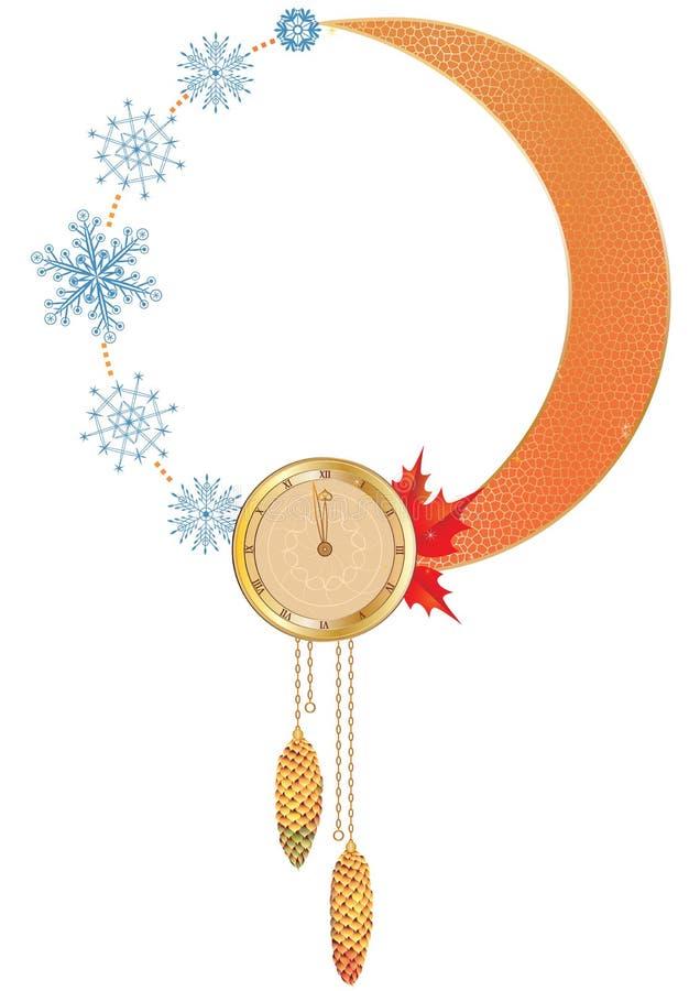Nowy Rok rama z zegarem royalty ilustracja