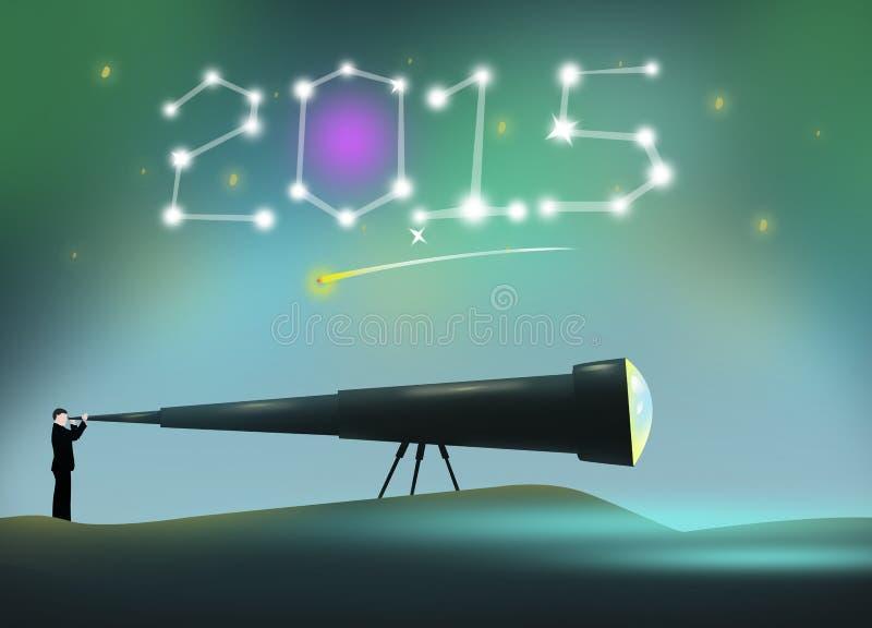 2015 nowy rok Resolutio lub świętowanie z mężczyzna używa teleskop royalty ilustracja