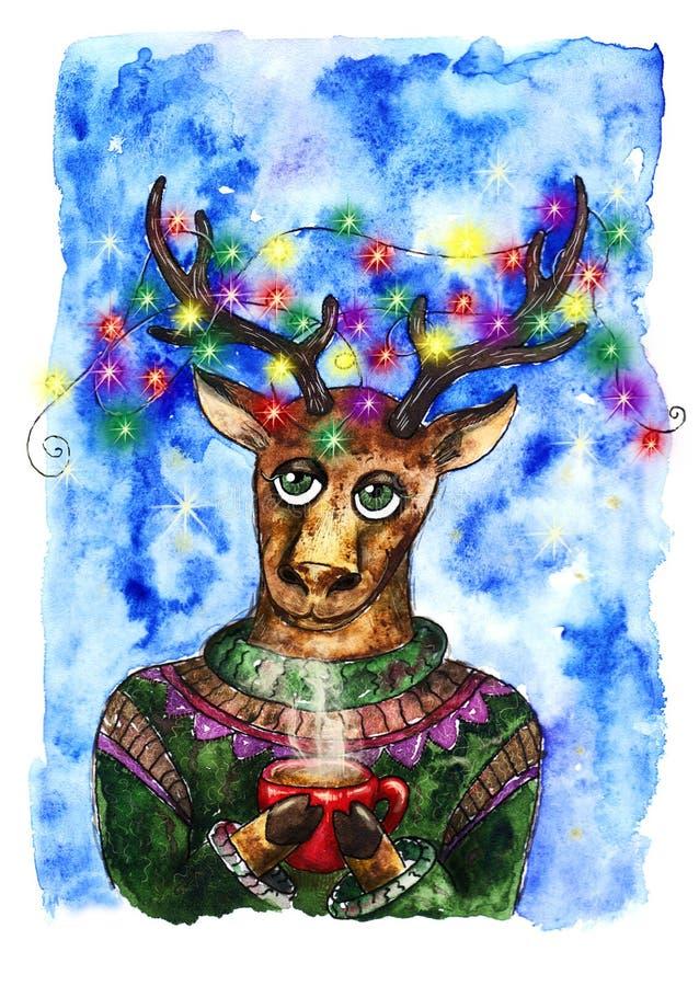 Nowy rok rogaczy pocztówka ilustracji