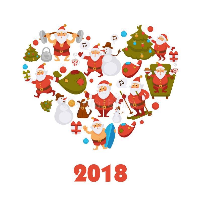 2018 nowy rok Santa postać z kreskówki odświętności zimy wakacje kartka z pozdrowieniami Bożenarodzeniowy wektorowy projekt ilustracji