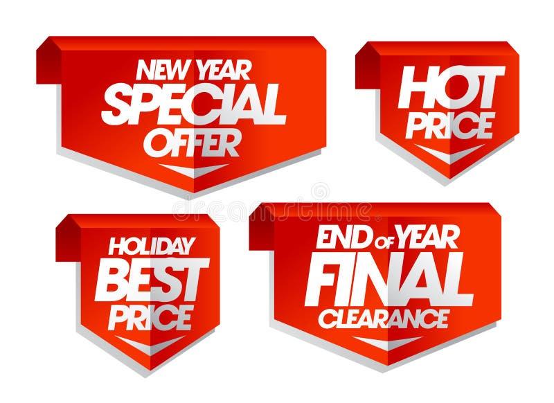 Nowy rok specjalna oferta, gorąca cena, wakacyjna najlepszy cena, końcówka rok poremanentowej sprzedaży definitywne etykietki royalty ilustracja