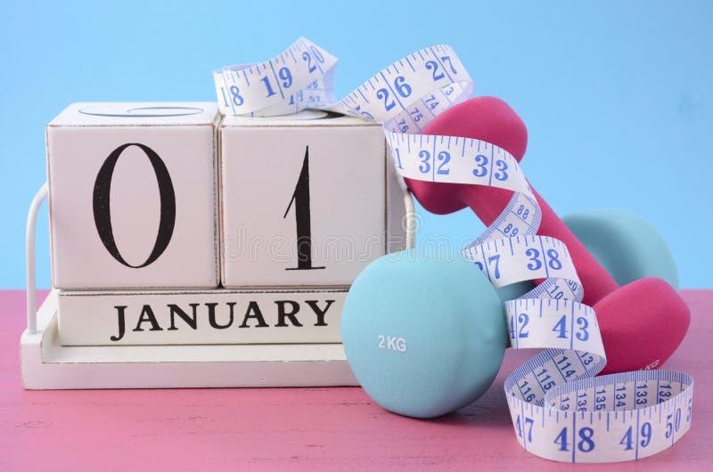 Nowy Rok sprawności fizycznej postanowienie obrazy royalty free