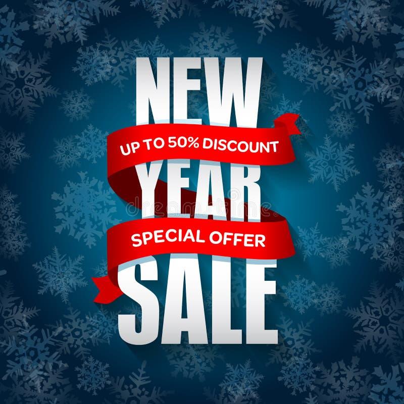 Nowy Rok sprzedaży odznaka, etykietka, promo sztandaru szablon Specjalna sezonowa sprzedaży oferta royalty ilustracja