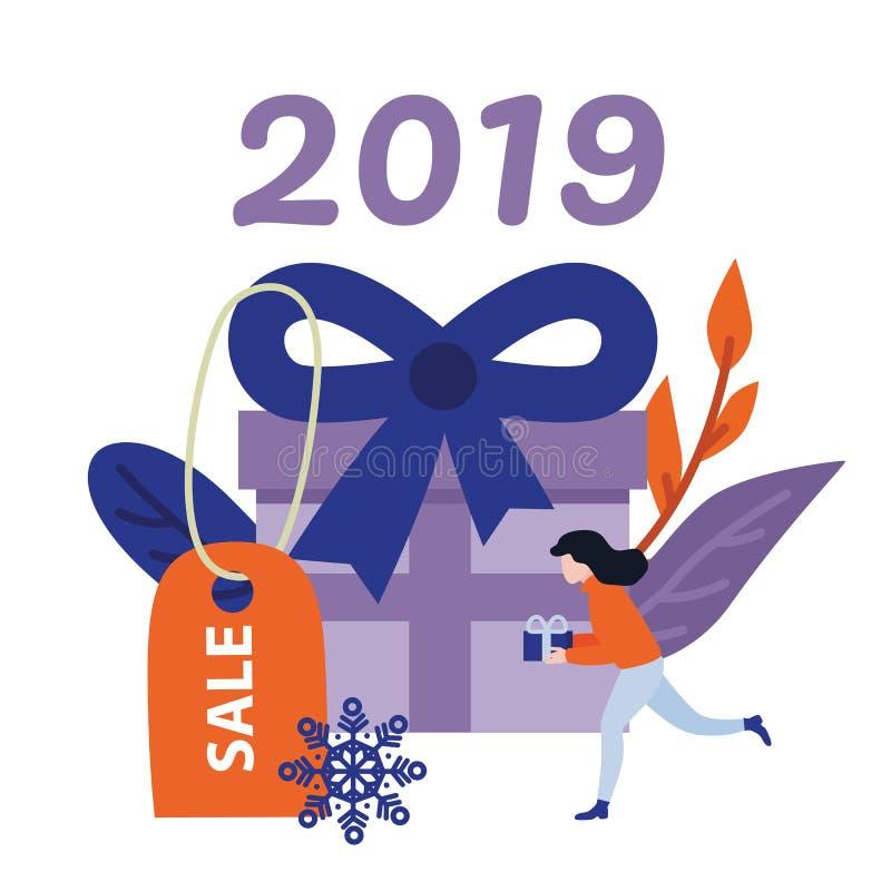 Nowy 2019 rok sprzedaży wakacyjny sztandar z dużą zawijającą fiołek teraźniejszości młodą kobietą z prezentem i pudełkiem ilustracja wektor