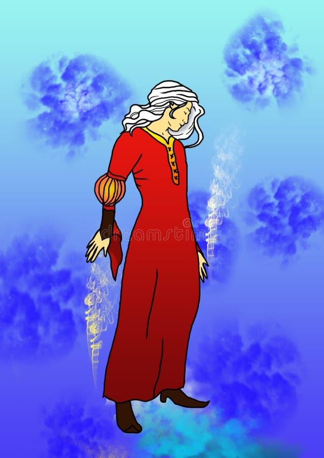 Nowy rok sztuki ilustracja kobiety zima w czerwonej sukni z białym włosy czaruje i przygotowywa dla nowego roku ilustracja wektor