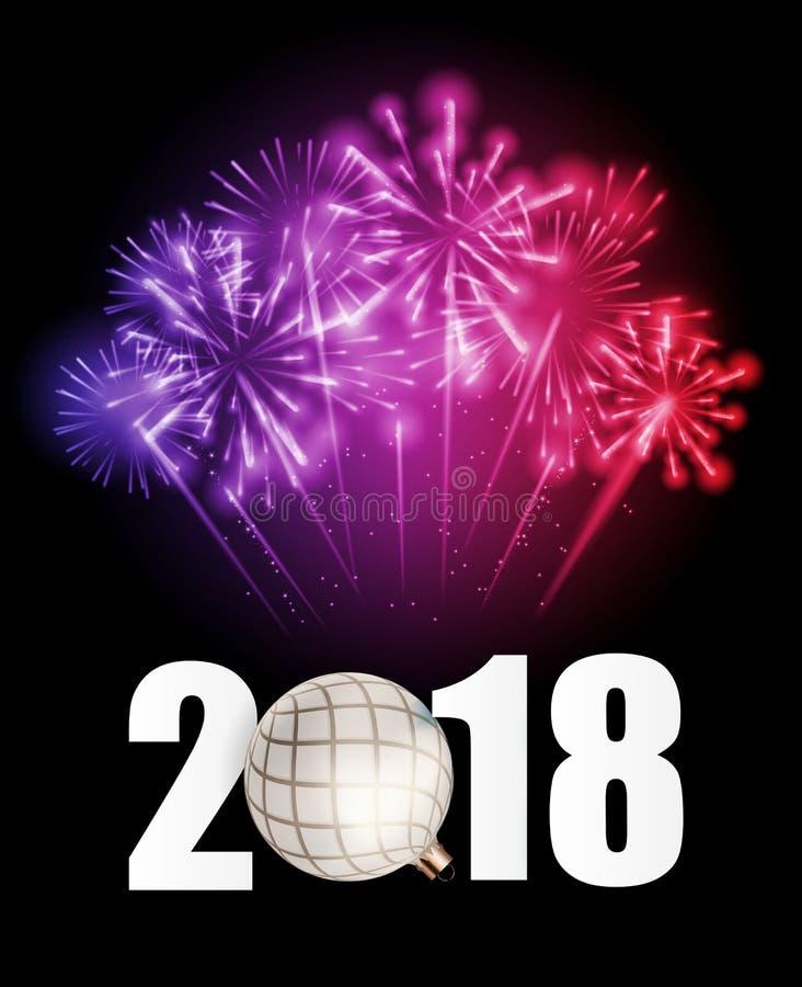 2018 nowy rok tło z Bożenarodzeniową piłką również zwrócić corel ilustracji wektora royalty ilustracja