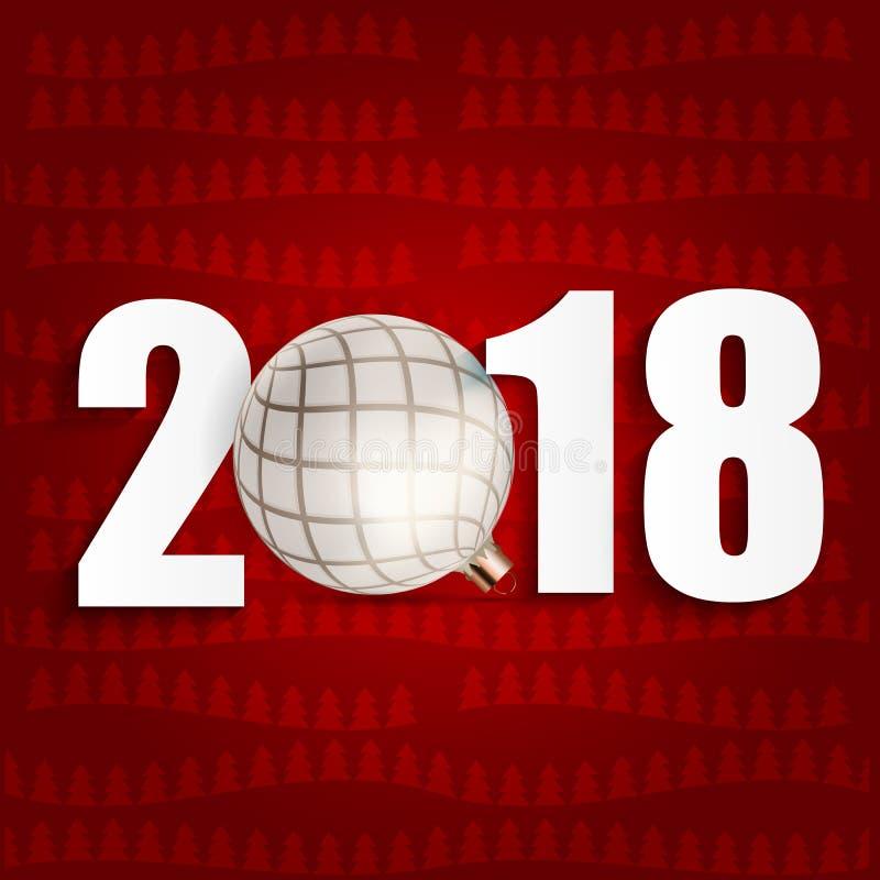 2018 nowy rok tło z Bożenarodzeniową piłką również zwrócić corel ilustracji wektora ilustracji