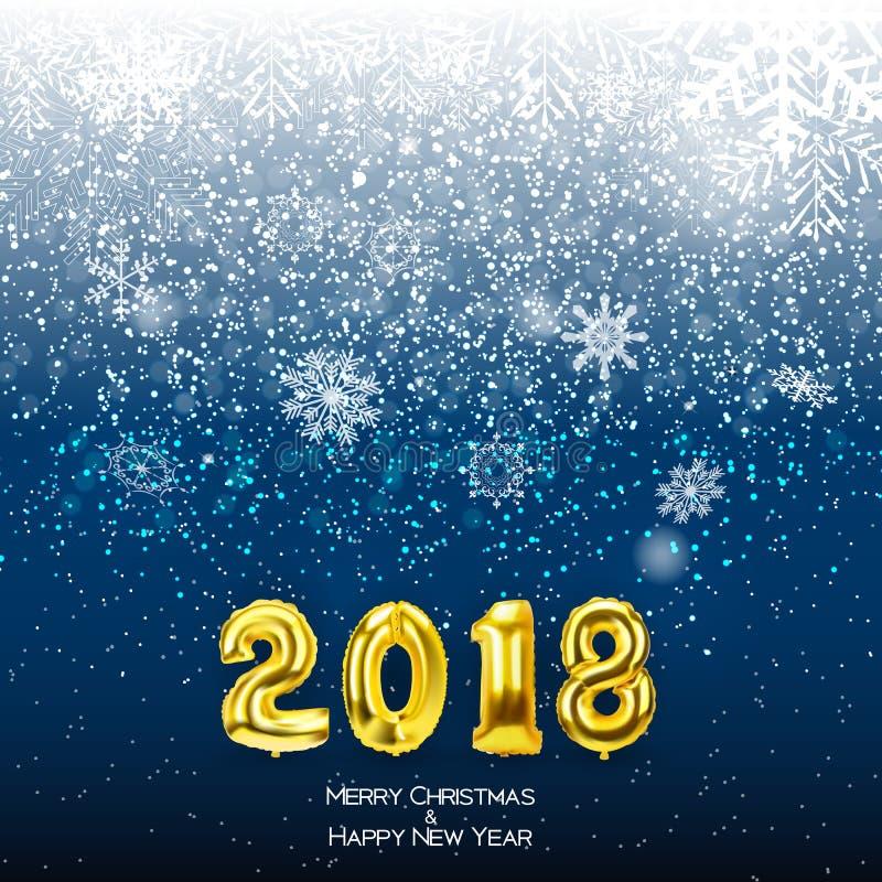2018 nowy rok tło z Złotym balonem również zwrócić corel ilustracji wektora ilustracji