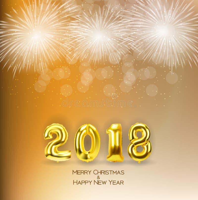 2018 nowy rok tło z Złotym balonem również zwrócić corel ilustracji wektora ilustracja wektor