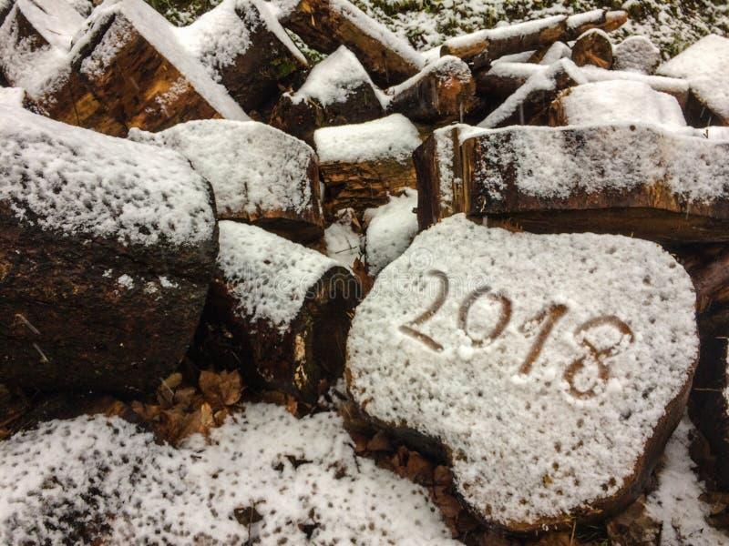 Nowy rok 2018 w handwriting na drewnie na prawej stronie ten fotografia obraz royalty free