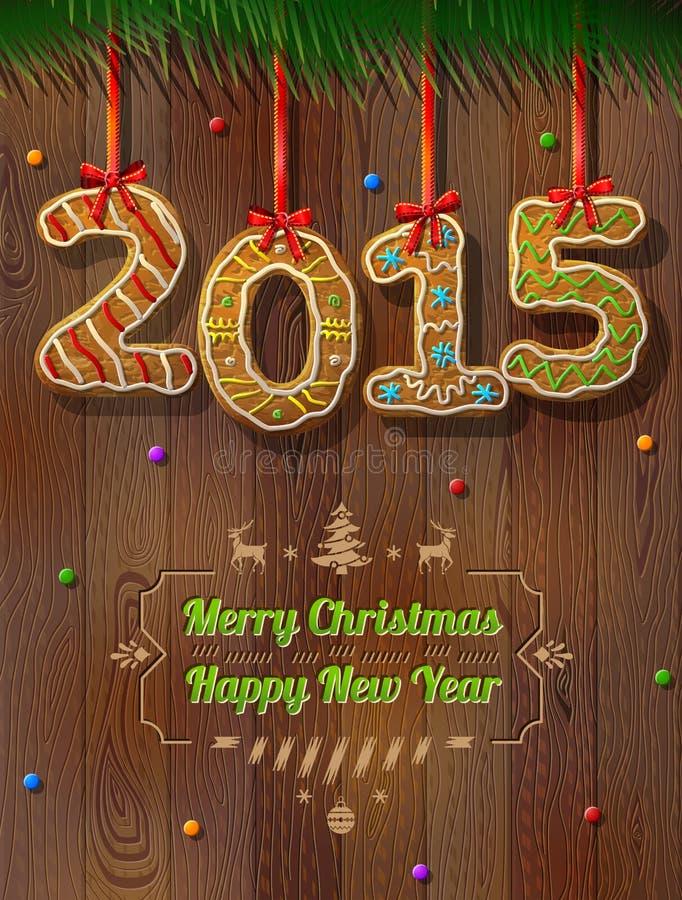 Nowy Rok 2015 w kształcie miodownik przeciw drewnianemu tłu royalty ilustracja
