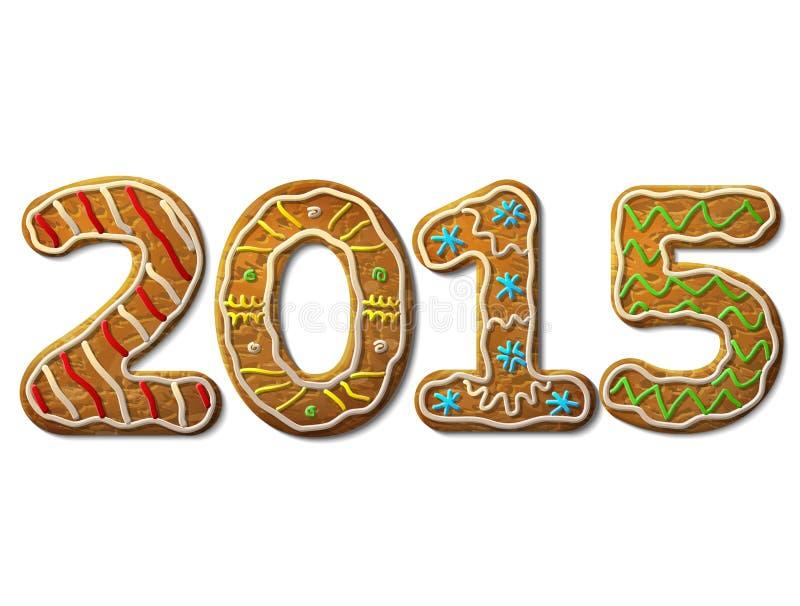 Nowy Rok 2015 w kształcie odizolowywającym na bielu miodownik royalty ilustracja