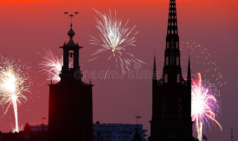 Nowy Rok w Sztokholm obraz stock