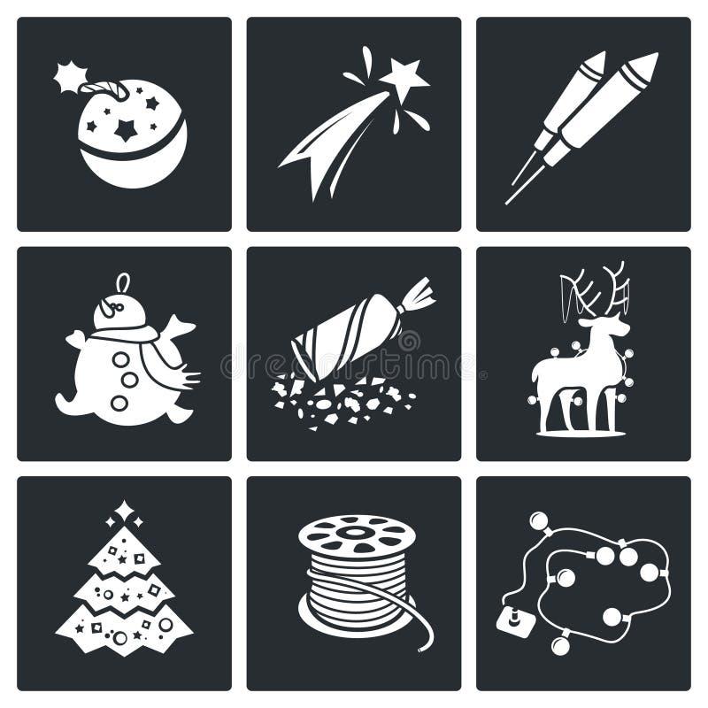 Nowy Rok Wektorowe ikony Ustawiać ilustracji
