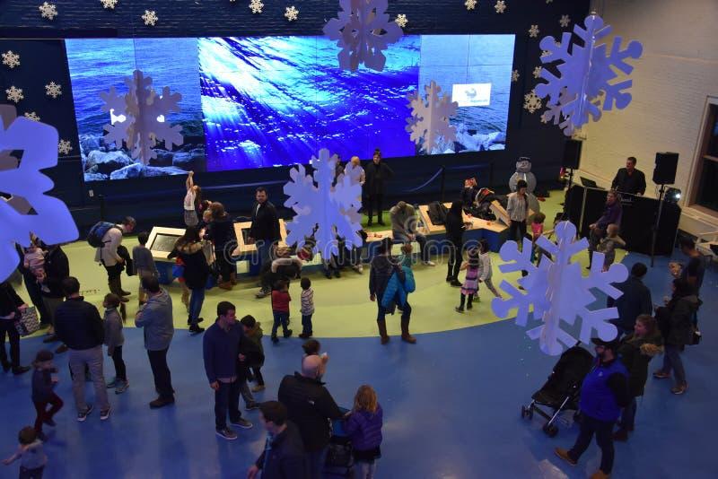 Nowy Rok wigilii świętowania przy Morskim akwarium w Norwalk, Connecticut obrazy stock