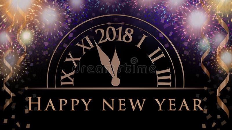 Nowy rok wigilii świętowania tła z kolorowymi partyjnymi fajerwerkami, zegar z 2018, tekst royalty ilustracja