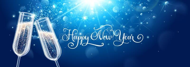 Nowy rok wigilii świętowania tła z szampanem royalty ilustracja