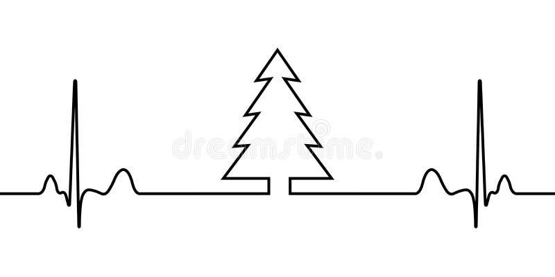 Nowy rok wigilii drzewo i bicie serca w jeden kreskowym, wektorowej choinki kierowy rytm, początkujący rok ilustracji