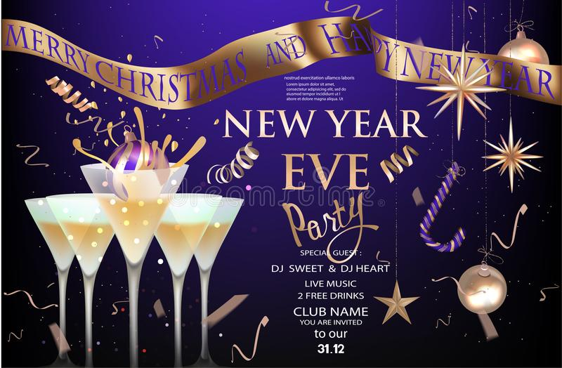 Nowy rok wigilii sztandar z szkłami z koktajlem i boże narodzenie dekoracjami Złoto i purpury royalty ilustracja