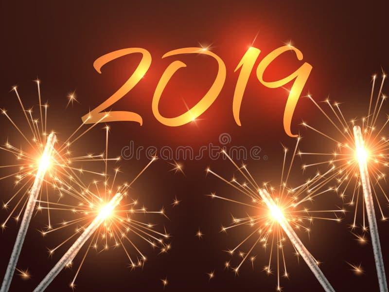 Nowy rok wigilii 2019 tło Wesoło przyjęcia gwiazdkowego zaproszenia wektoru karta z sparklers royalty ilustracja