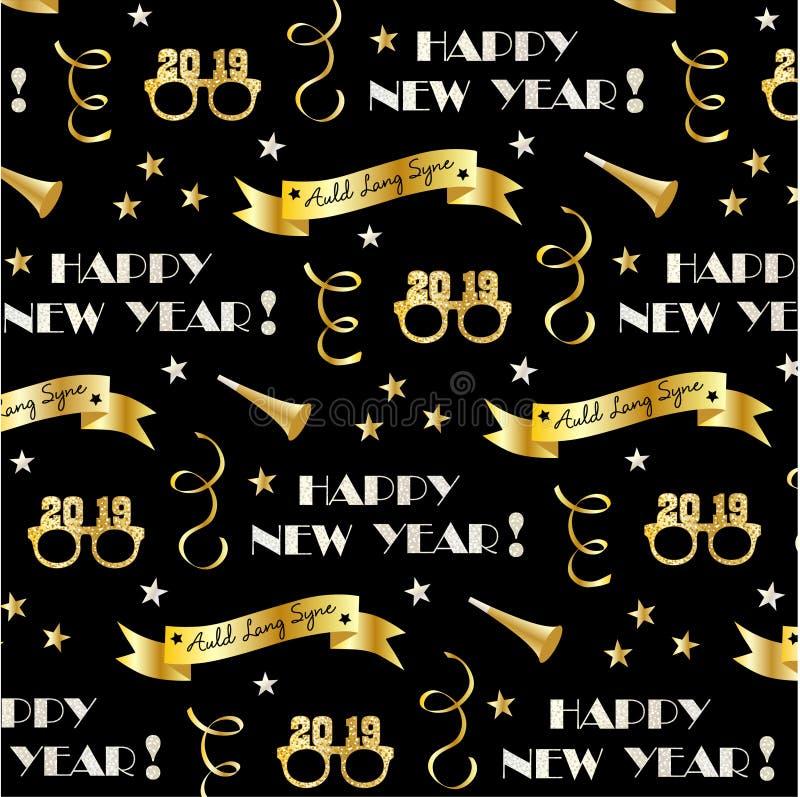 Nowy rok wigilii 2019 wzoru z złocistymi sztandarami, szkłami, gwiazdami i confetti streamers, ilustracja wektor