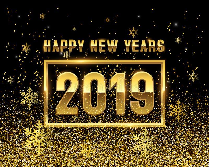 Nowy rok 2019 złota na czarnym tle