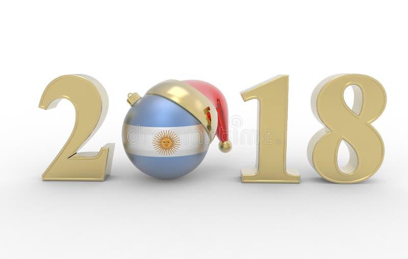 Nowy rok 2018 z Argentina flaga 3d ilustracji