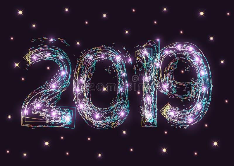 Nowy Rok 2019 z kolorowym błyska i błyszczeć gra główna rolę na ciemnym tle ilustracja wektor