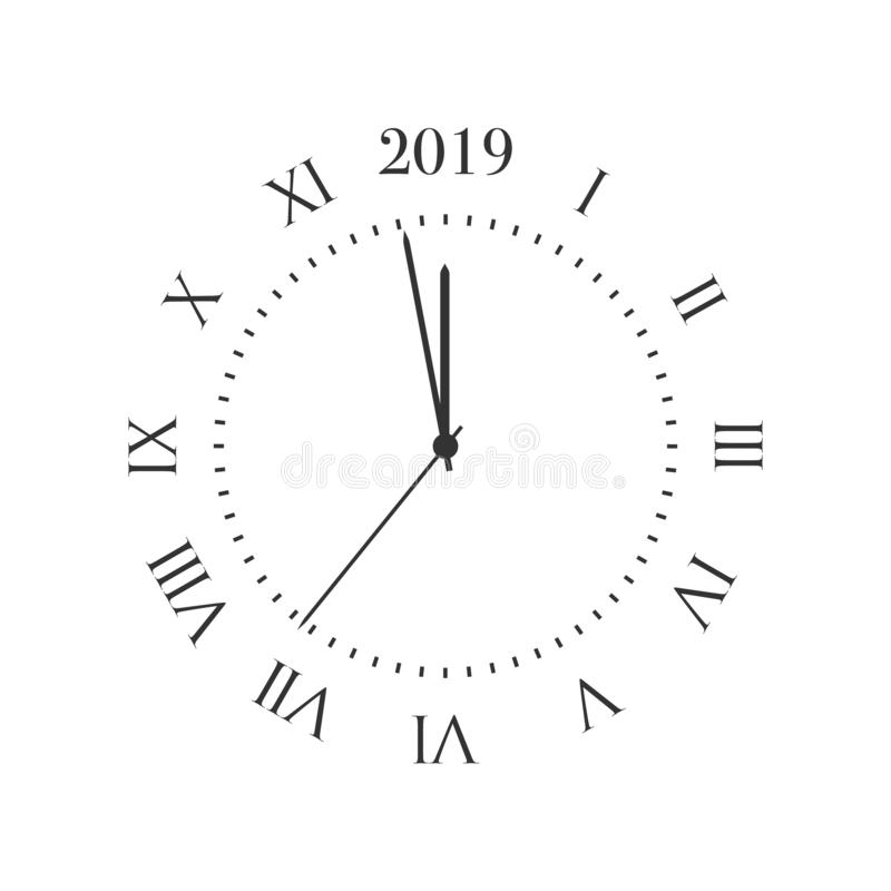2019 nowy rok zegar  ilustracja wektor