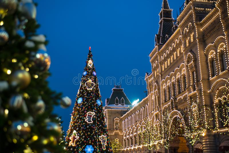 Nowy rok, zima Moskwa w wszystkie swój świątecznej iluminacji zdjęcia stock