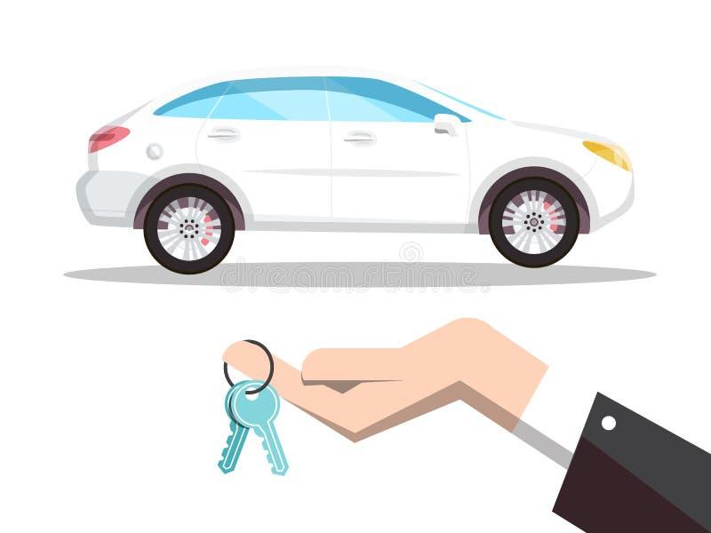 Nowy Samochodowy pojęcie z kluczami w ręki ilustracji Odizolowywającej na Białym tle ilustracja wektor
