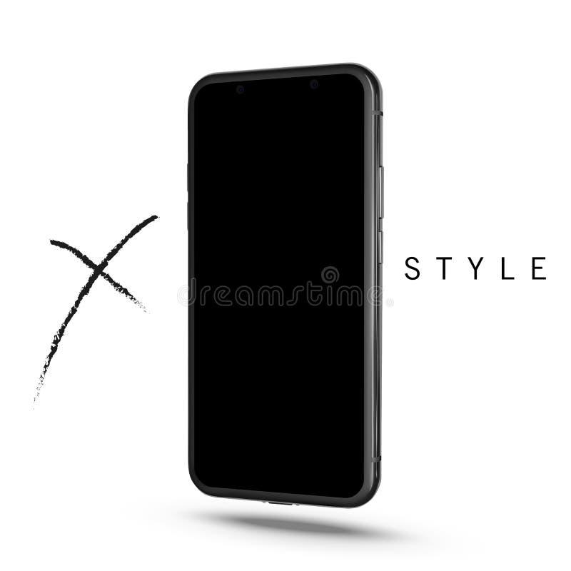 nowy smartphone Telefonu X styl Telefon Komórkowy z ekranem sensorowym Odizolowywającym na białym tle Czarny nowo?ytny realistycz ilustracji