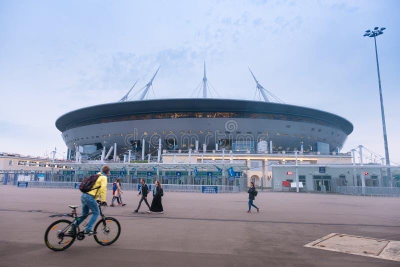 Nowy stadium na Krestovsky wyspie, znać jako Świątobliwa Petersburg arena Rosja obrazy stock