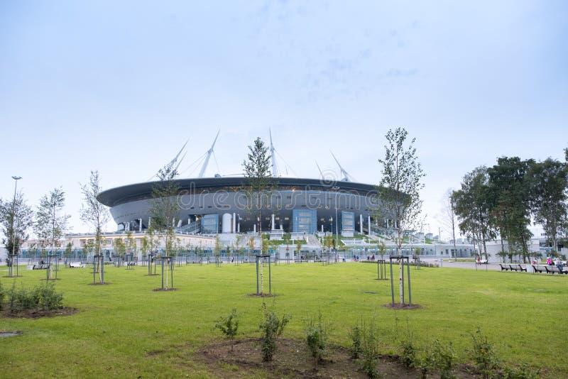 Nowy stadium na Krestovsky wyspie, znać jako Świątobliwa Petersburg arena Rosja zdjęcia royalty free