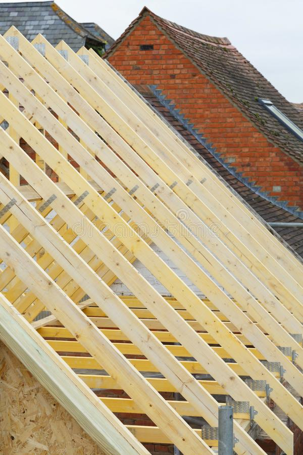Nowy szalunku dach trusses zbliżenie obraz royalty free