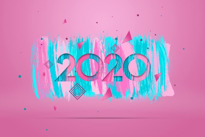 Nowy szczęśliwy rok - Lettering 2020 Cyfry 2020 na różowym tle Ilustracja 3D, renderowanie 3D Świąteczny projekt, wesołe święta ilustracji