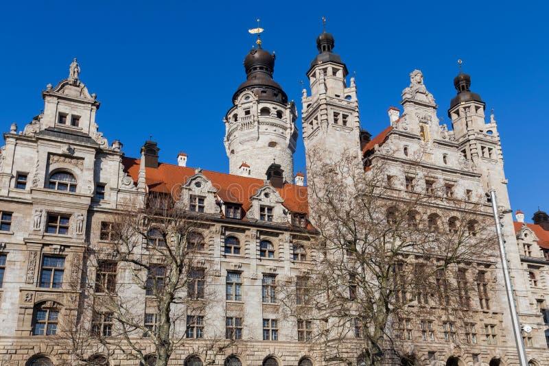 Nowy urząd miasta Leipzig Niemcy zdjęcia royalty free