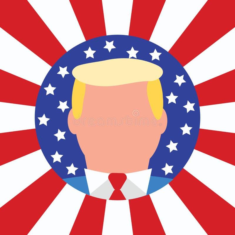 Nowy usa prezydenta Donald atut amerykańska flaga ilustracja wektor