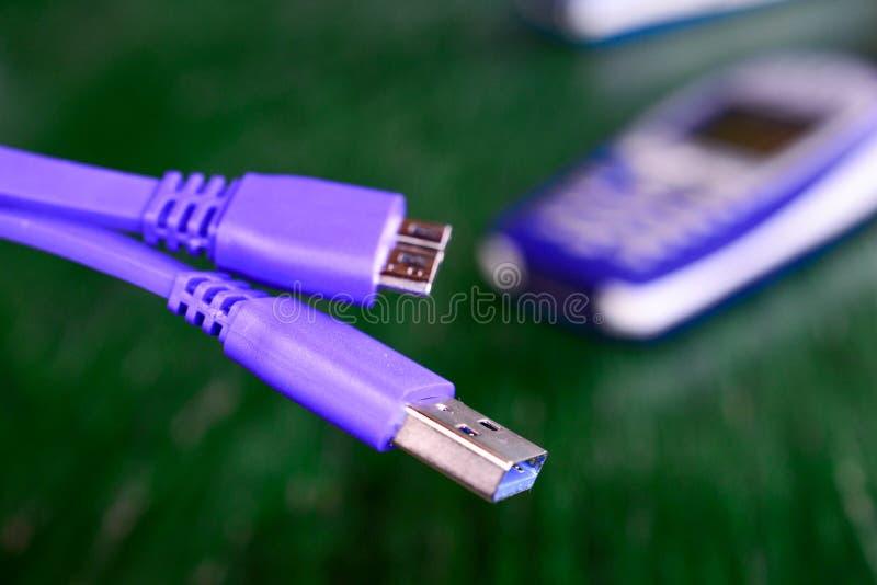 Nowy usb 3 purpur kabel zdjęcia royalty free