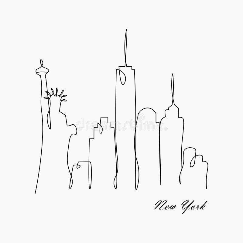 Nowy York miasta linia horyzontu, usa, wektorowa ilustracja ilustracja wektor