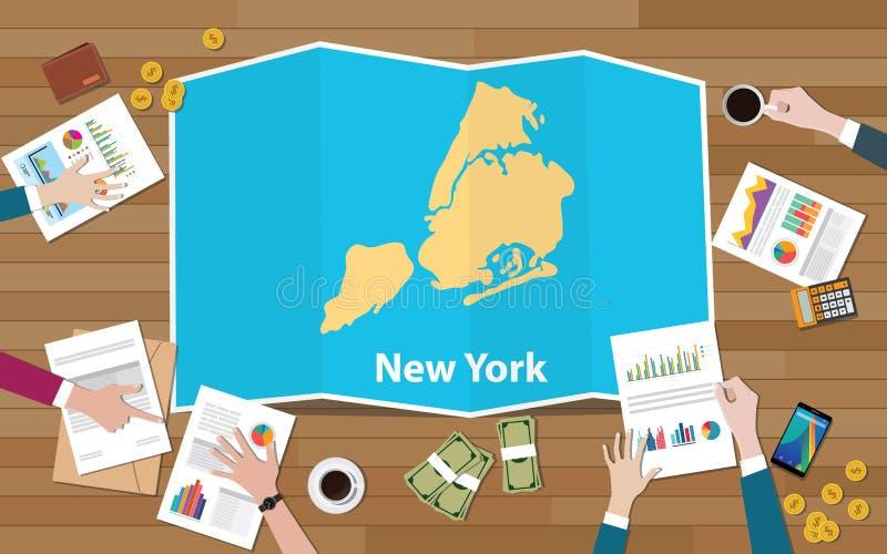 Nowy York miasta usa stanów miasta regionu gospodarki America jednoczący przyrost z drużyną dyskutuje na fałd map widoku od wierz ilustracji