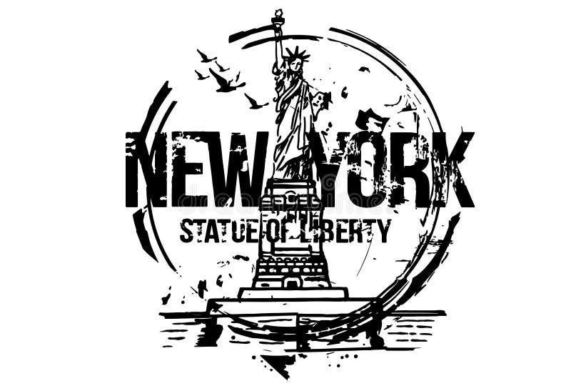 nowy York posąg wolności USA Miasto projekt royalty ilustracja