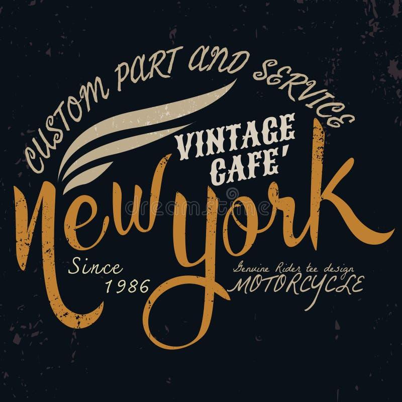 Nowy York rocznika silnik typograficzny dla koszulka projekta, trójnika graphi ilustracja wektor