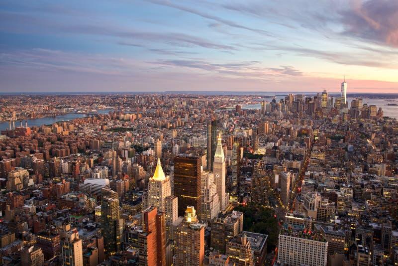 nowy York, zachód słońca zdjęcia royalty free