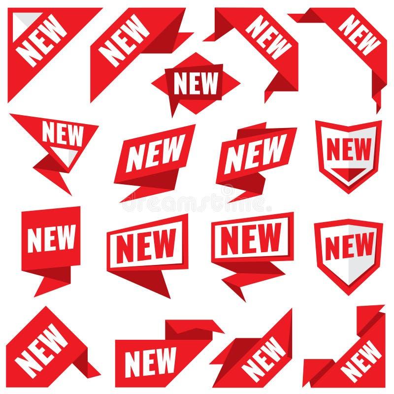 Nowych majcherów wektorowe nowożytne etykietki i narożnikowi czerwoni sztandary royalty ilustracja