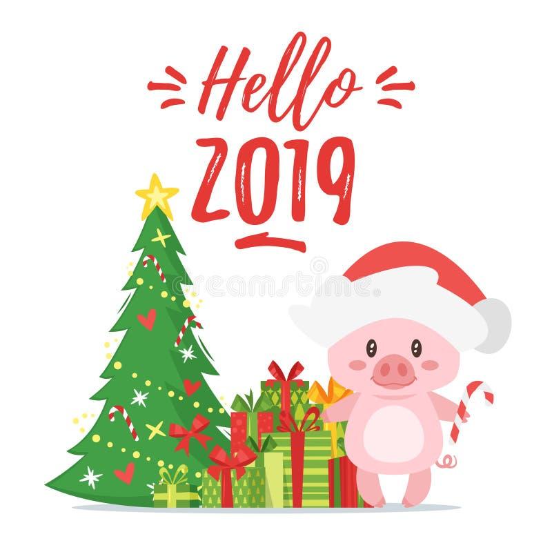 2019 Nowych yea, Bożenarodzeniowy kartka z pozdrowieniami ilustracja wektor