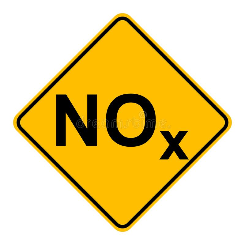 NOx  and road sign. As vector illustration stock illustration
